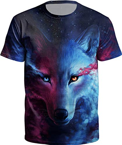 - KIDVOVOU Unisex Boys Girls 3D Cartoon Printed Short Sleeve O-Neck Tee Shirt,Wolf Head,L