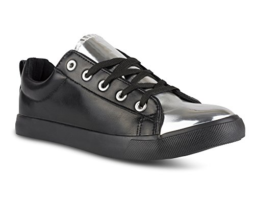 Twisted Womens KIX Faux Leather and Metallic Sneaker Black 01M9yLd