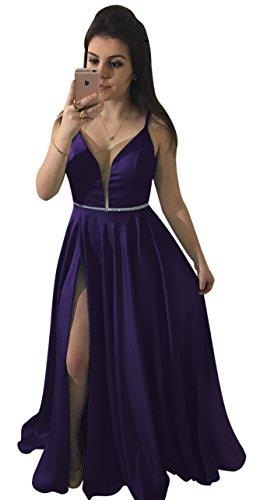 Yangprom Long Spaghetti Straps Beaded Low Back Satin A-Line Prom Dress With Slit (Back Dress Slit Prom)