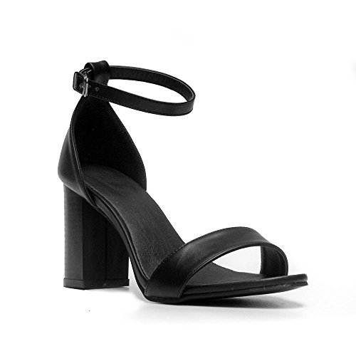 LvYuan-mxx Sandalias de las mujeres / verano de la primavera / cuero ocasional de la correa del tobillo / talón grueso punta del pie / hebilla / oficina y vestido de la carrera / altos talones , 36 ,  BLACK-38