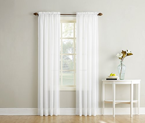 No. 918 Erica Crushed Textured Sheer Voile Rod Pocket Curtain Panel, White, 51