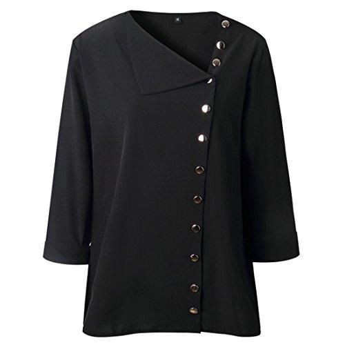 Mujer con Tops Manga larga moichien Blusa Ai Ol botones Blusa Negro Blusa Estilo HqZ5xwa