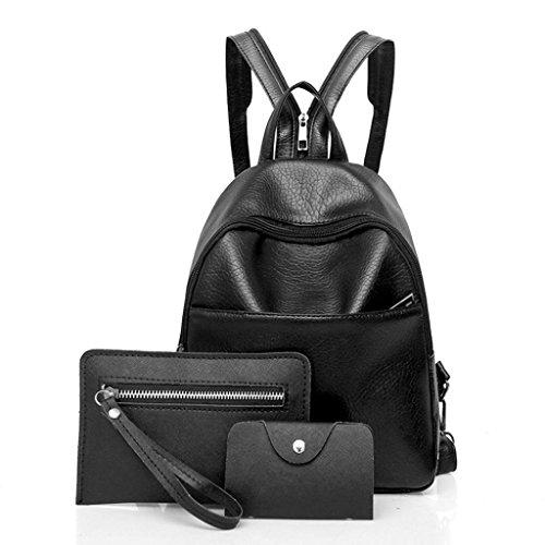 Clearance! Women Teen Girls PU Leather 3pcs Set College Backpack Purse Shoulder Bag Handbag Rucksack Satchel (Black)