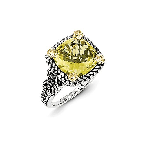 925 Sterling Silver 14k Lemon Quartz Band Ring Size 8.00 Stone Gemstone Fine Jewelry Gifts For Women For Her