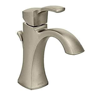 Moen 6903BN Voss One-Handle High-Arc Bathroom Faucet with Drain Assembly, Brushed Nickel