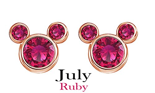 July Birthstone Dark Pink Mickey Mouse Stud Earrings In 14k Rose God Over Sterling Silver