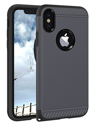 iPhone X Case, iPhone X Cover CHTech Slim Dual Layer Protective Shock-Absorption Armor Corner Cushion Case Cover with Lanyard Hole Design for Apple iPhone X 5.8'' - Gun Metal
