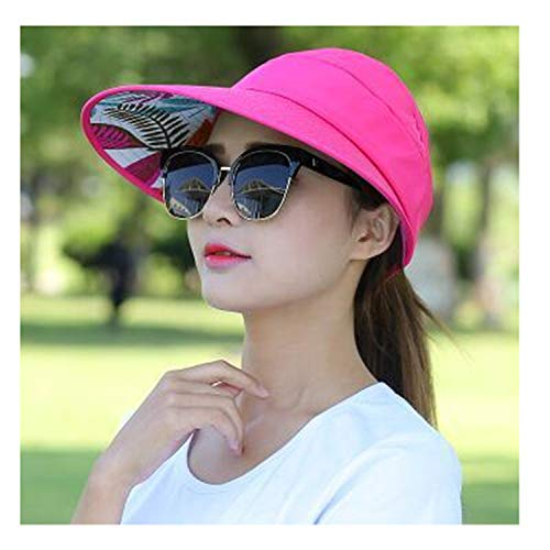 Summer Sun Hats Pearl Sun Visor Hat with Big Heads Wide Brim Beach Hat Uv Protection Rose Red 55-59CM