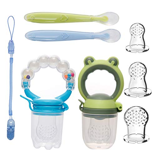 koshine Baby Food Feeder Set Silicone Fruit Rattle Feeders Pacifier Infant Teething Toys (8Pack-Boys)