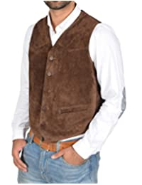 Mens Real Suede Leather Traditional Style Classic Waistcoat Vest Don Brown