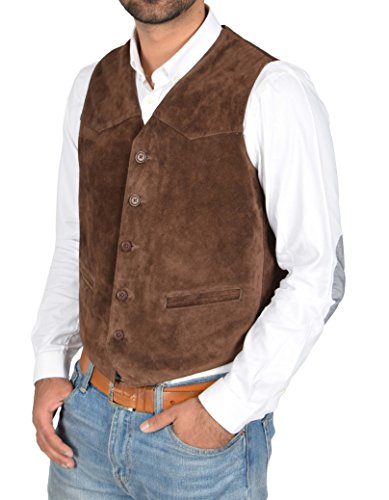 - Mens Real Suede Leather Traditional Style Classic Waistcoat Vest Don Brown (Large)