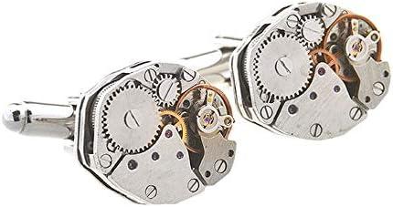 カフス 1ペアヴィンテージ六角時計ムーブメントシェイプカフリンクス用バレンタインフェスティバル誕生日記念日卒業ギフトクラシックデザイン スーツ 礼服 ビジネス パーティー (Color : Silver, Size : 15×15×4mm)