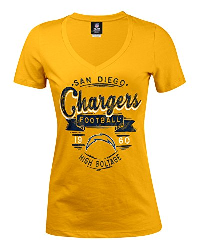 NFL San Diego Chargers Women's Baby Jersey Short Sleeve V-Neck Tee, Medium, Yellow/Black Print
