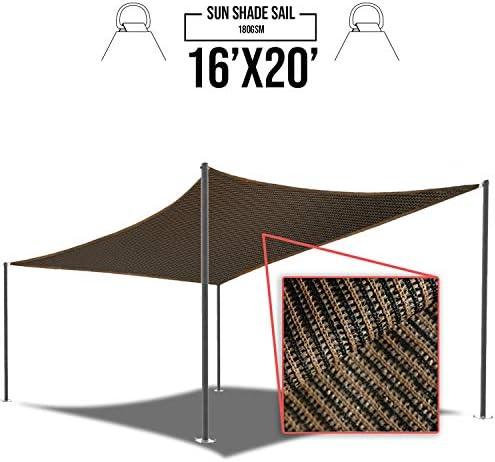 E K Sunrise 16 x 20 Brown Sun Shade Sail Square Canopy – Permeable UV Block Fabric Durable Patio Outdoor Set of 1