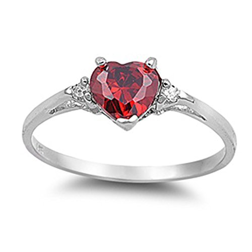 Sterling Silver Simulated Ruby Heart Ring Love Rhodium Finish Band Solid...