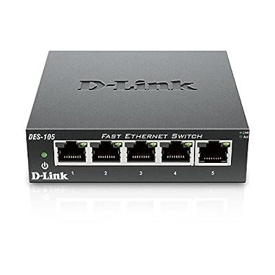 D-Link 5 Port 10/100 Unmanaged Metal Desktop Switch (DES-105)