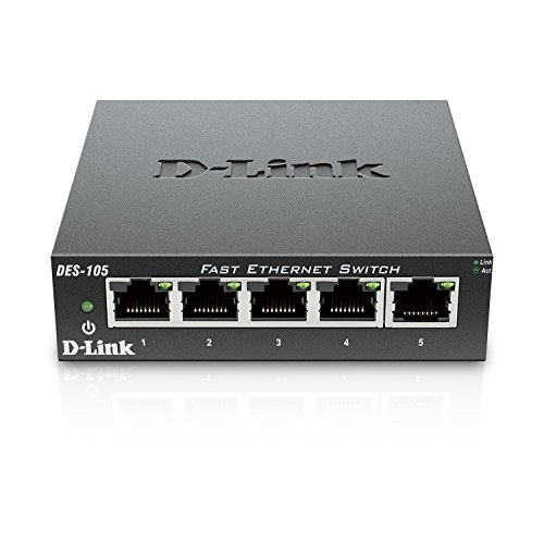 D-Link 5 Port 10/100 Unmanaged Metal Desktop Switch (DES-105)