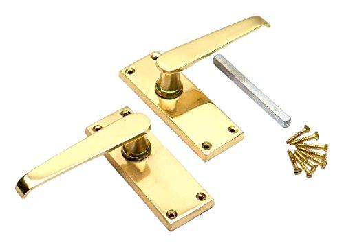 Bulk Hardware BH03587 Victorian Straight Lever Latch Door Handle Polished Brass -