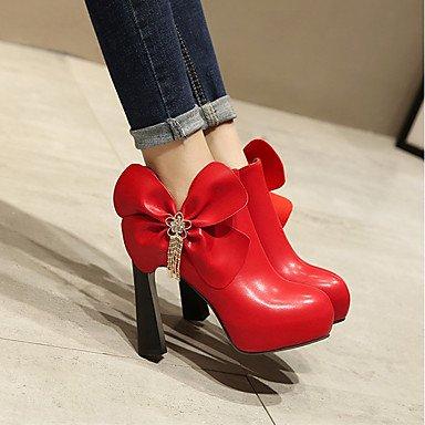 Heart&M Damen Schuhe PU Herbst Winter Komfort Stiefel Blockabsatz Runde Zehe Strass Schleife Reißverschluss Für Weiß Schwarz Rot white