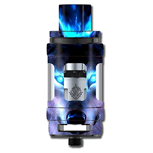 Skin Decal Vinyl Wrap for Smok TFV12 Cloud Beast King Tank Vape Mod stickers skins cover / Wolf Glowing Eyes Fire