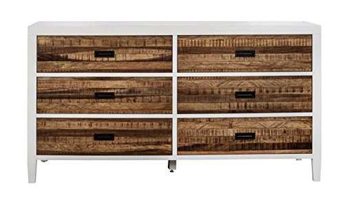 - Modus Furniture 9WF482 Montana Six-Drawer Dresser, White Lacquer and Natural Sengon