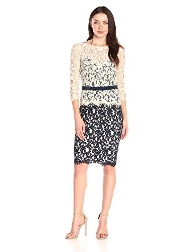 Tadashi Shoji Women's Two-Tone Lace Dress with Three-Quarter Sleeves and Belt