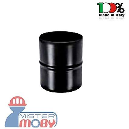 mistermoby – Racor para tubo estufa de pellets Casquillo mm macho macho color negro diámetro 8