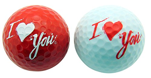 Love You with Kiss Golf Ball Valentines Day Gift Set for Him or Her