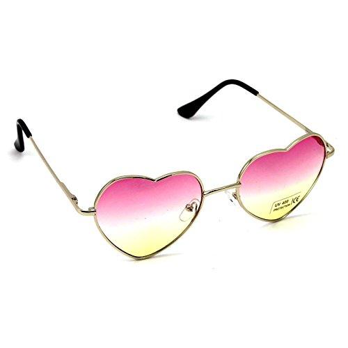 surdimensionné Cadre cœur soleil en métal Lunettes de de pour classique top en femme forme rose Style Tendance W xqS6zwIHq