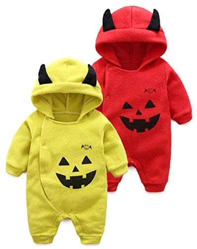 Baby Boys Girls Long Sleeve Cartoon Halloween Pumpkin Hooded Romper Jumpsuit size 0-3 Months/59cm (Orange)