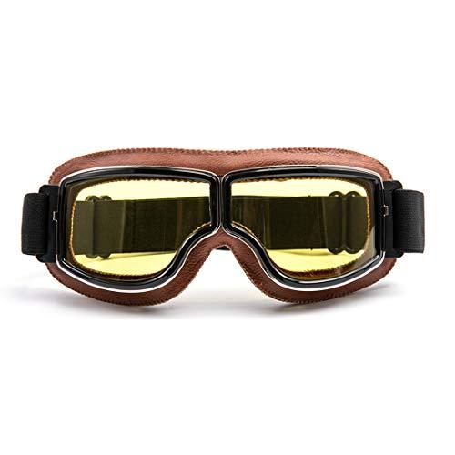 evomosa Motorradbrille Motorräder Retro Pilot Nebelsichere Brille ATV Bike Motocross Brille Schutzbrille – Gelbe Linse