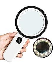 LED Lupa con Luz, Lupas De Mano 30 con 12 LED, Sistema De Iluminación Lupa, Lectura Lupa, Lupa De Libros, Periódicos, Mapas, Monedas, Joyas, Viejo Aficiones.