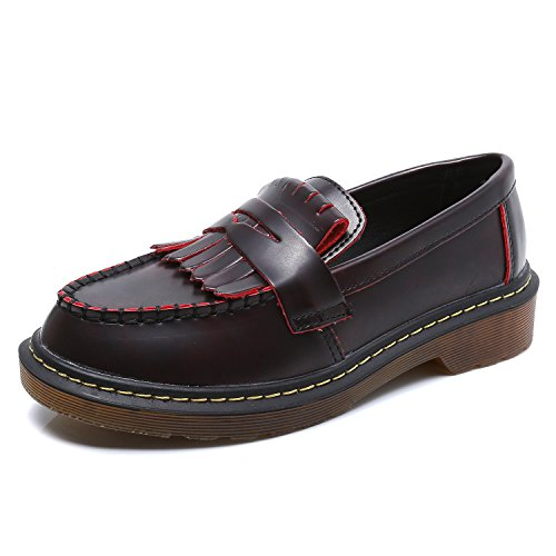 Smilun Unisex-Adult Moccasins Fashion Comfortable Smooth Leather Women Red Size 7.5 B(M) US by Smilun (Image #1)