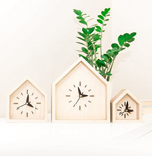 SET OF 3 Desk Clocks - Wooden Table Clocks - House Shape Clocks - Modern Desk Clock - Silent Desk Clock - Oak Wood Clock - Housewarming Cube Shape Award