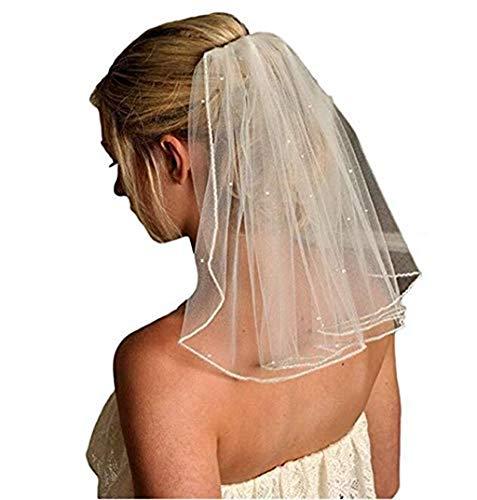 Women's Short 45cm Wedding Veils with Comb Beads Bridal Lace Appliques Veil(More) ()