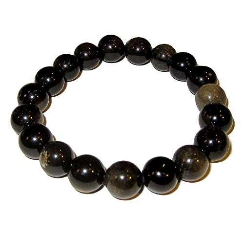 Obsidian Bracelet Gold 01 Stretch 9-10mm Sheen Crystal Protection Volcanic Stone (Gift Box) (7 Inches)