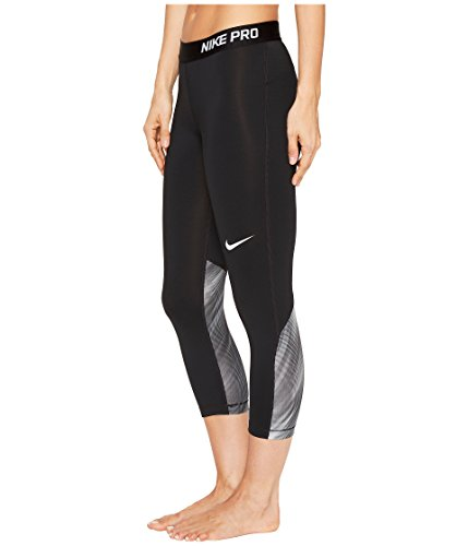Nike Women's Pro Cool Light Streak Print Training Capri (SM 21, Black/Black/White)