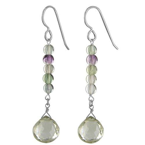 Mint Green Quartz And Fluorite Gemstone Sterling Silver Handmade Dainty Dangle Drop Earrings By Ashanti