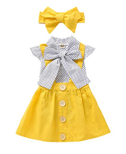 Toddler Baby Girl Polka Dot Ruffle Shirt+Overall Suspenders Skirt+Bowknot Outfits School Uniform(90, Yellow1)