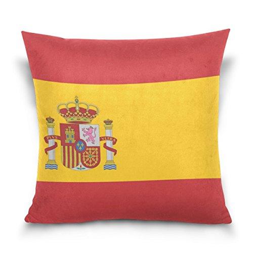 Top Carpenter Spain Flag Velvet Plush Throw Pillow Cushion Case Cover - 20'' x 20'' - Invisible Zipper Home Decor Floral for Couch Sofa No Pillow Insert by Top Carpenter
