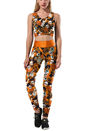 Selowin 2017 New Women Halloween Skull Tank Crop Leggings Yoga 2 Piece Tracksuit Activewear Orange-skull X-Large ()