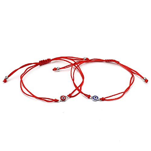 (2 pcs/Set Evil Eye Black Red String Rope Bracelet Thread Charm Lucky Amulet Jewish Jewelry (red and Blue))