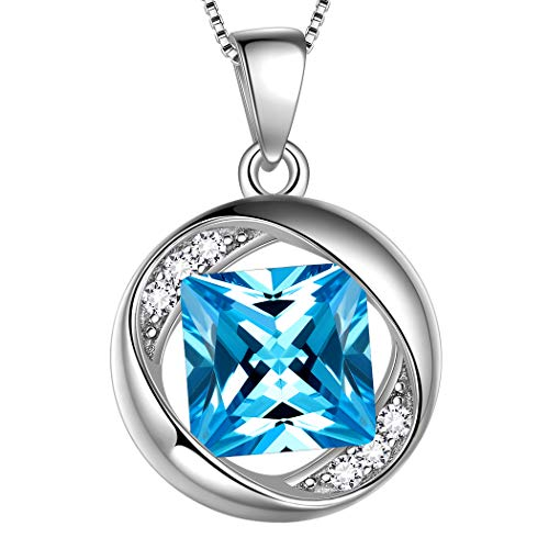 March Birthstone Necklace - Aurora Tears March Pendants Women 925 Sterling Silver Birthstone Necklaces Birthday Jewelry Personalized Gift Created-Aquamarine Girls Dating Jewellery DP0029M