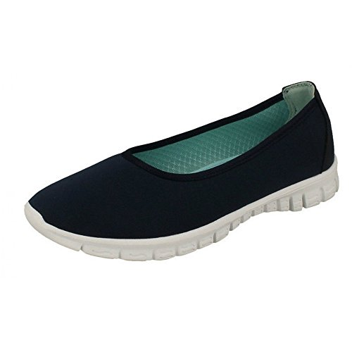 Ladies Spot On Trainers Style - F80113 Navy (Blue) W9CJ7
