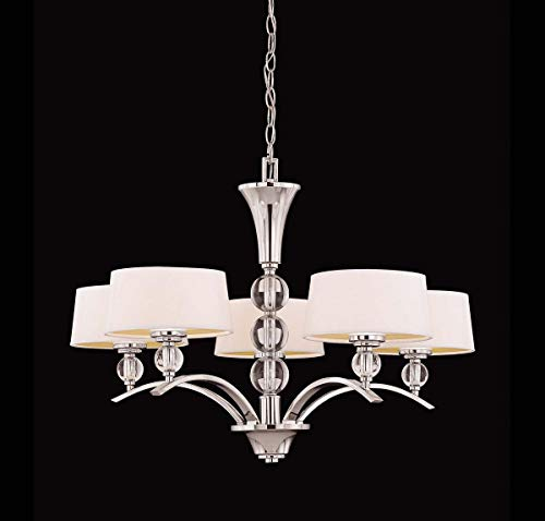 Savoy House Lighting 1-1035-5-109 Murren Collection 5-Light Single-Tier Chandelier, White Shades with Polished Nickle Finish