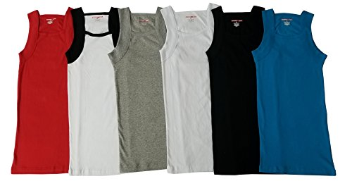 Men's G-unit Style Tank Tops Square Cut Muscle Ribbed Underwear Shirts (L, 6 Pack ( Assorted - Different Styles Men's