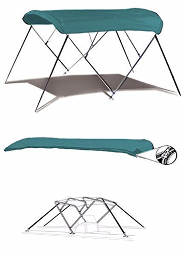 7oz TEAL 4 BOW ROUND TUBE BOAT BIMINI TOP SUNSHADE TOP FOR FISHER FREEDOM 241 DLX 2007 by SBU-CV