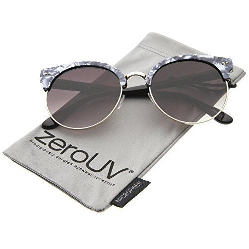 zerouv-womens-half-frame-marble-finish-moon-cut-flat-lens-round-sunglasses-charcoal-gold-lavender