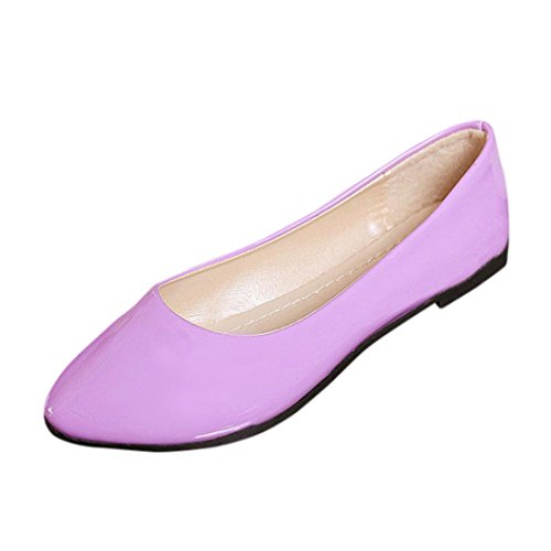 Transer Ladies Colorful Leisure Flats Shoes, Women Slip on Comfort Casual Work Loafers Lazy Shoes Purple