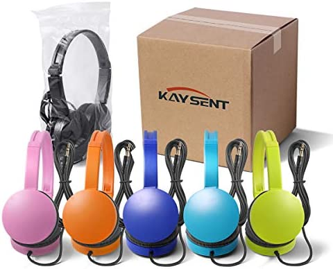 Kaysent School Headphones for Classroom Students - (KHPC-12Mixed) 12 Packs Multi-Colors Kids' Headphones for School, Library, Computers, Children and Adult(No Microphone)